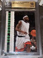 2003-04 LeBron James UPPER DECK PROSPECTS ROOKIE #55 BGS 10 PRISTINE PSA RC Kobe