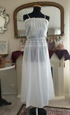 Vintage White Cotton Petticoat Nightdress Pin Tucks Lace Ribbon .Straps Bow