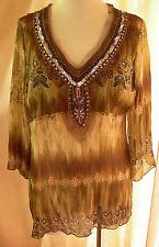 Ladies 3/4 Sleeve Chiffon Empire Blouse Shirt Top Sequins Crossroads Size 14