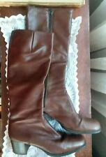 Vintage Leather Dress Boots w zipper, stacked heel, Made In Italy, womens 9.5 N