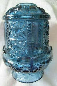 VINTAGE BLUE INDIANA GLASS FAIRY LIGHT NEAR MINT