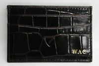 ASPINAL OF LONDON Brown Croc Leather Card & ID Holder Wallet With Initials NEW