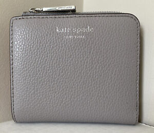 New Kate Spade New York Eva small L-zip Bifold wallet Soft Taupe