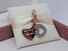 New w/Hinge Box Pandora ROSE Beloved Mother w/CZ Heart Charm #791883CZ Mom