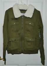 NWT VOLCOM PacSun Olive Green Cargo Bomber Plush Collar JACKET* M MEDIUM NEW $59