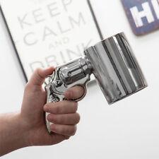 Tazza Revolver Con Manico Forma Pistola Argentata In Ceramica Bicchiere 300 ml