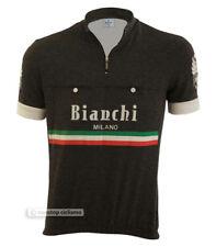 Bianchi Milano HOZAN Vintage Retro Style Short Sleeve Cycling Jersey : BLACK