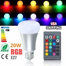 E27 20W RGB Dimmable Color Changing LED Bulb Spot Light Lamp w/ Remote 110V US
