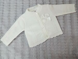 Pex ELVA Baby Girls Spanish Knit Cardigan - White with Satin Bow