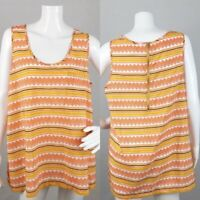 Umgee Womens Blouse Large Chevron Orange Exposed Zipper Sleeveless Scoop Tunic