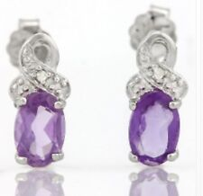 AMETHYST & DIAMOND SILVER EARRINGS 0.61 CWT FEBRUARY BIRTHDAY EARTH MINED XMAS