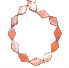 """MP1776f Red 15mm Flat Diamond Marquise Mother of Pearl Shell Beads 15"""""""