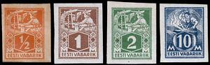 Estonia Scott 58-60, 64 (1922-23) Mint H/NH F-VF, CV $26.65 B