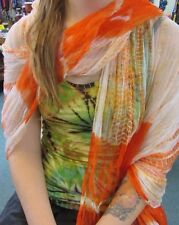 Silky Colourful Indian Thin Scarf Wrap With Beads White Base Tie Dye Orange
