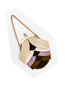 FENDI Pleated Satin Mini Bag Small Purse Silk Gold Chain Strap Pouch