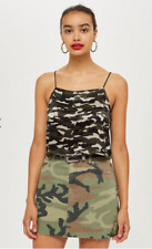 Topshop Cropped Camouflage Print Cami Top BNWT Size UK 10