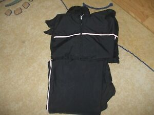 Vintage Champion black pink lined jacket pants sweatsuit tracksuit exercise set