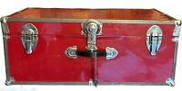 Vintage Red Metal Trunk Steamer Wardrobe Chest Distressed Decor Craft Project