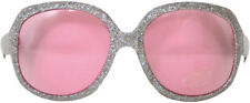 LARGE SILVER FRAMED PARTY GLASSES WITH PINK LENSES - FUN FANCY DRESS