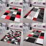 Kurzflor Teppich Rot Grau Modern Geometrische Figuren Designer Wohnzimmer NEU