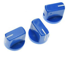 *NEW Set of 3 Amp Style Pointer KNOBS for Amps, Pedals + Guitars Blue
