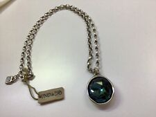 NWT Uno de 50 Silver-plated Chain Necklace with Blue Swarovski Crystal