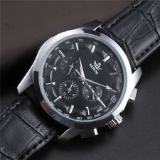 Mens 6 Hands Calendar Black Leather Automatic Mechanical Wrist Watch Week Casual