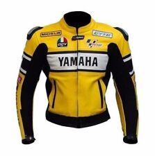 Yamaha Racing MotoGP Estilo Cuero Moto Chaqueta Amarilla
