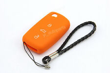 Orange Silicone Case Cover For VW Passat Golf Caddy Remote Flip Key 3 Buttons 3B