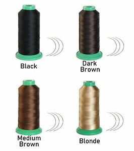 1700 Meters Elastic Nylon Sewing Thread 3pcs 9cm Curl Needles for Wig Making