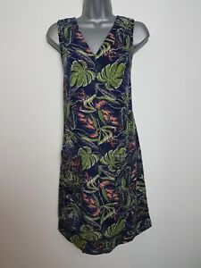 Ladies NEXT Shift Dress Linen Floral Print Summer Smock Vintage Beach Size 6-26