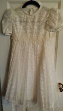 NEW Girls WHITE Lace Party Pageant Church Dress Size 8  Zip~Tie Communion