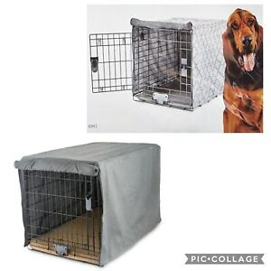 You & Me Dog Crate Cover Solid and Geometric Gray XL XXL