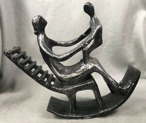 Henry Moore Style Mother and Child Rocking Chair Sculpture Cast Metal