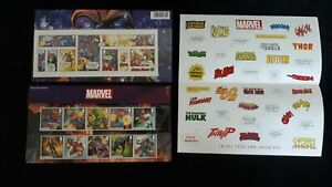 Royal Mail Stamps Presentation Pack 568 Marvel Stamps and stickers package