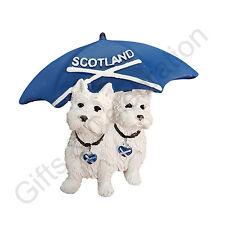 Scotland Fridge Magnet  Scottish Dogs with Scottish Flag umbrell  Souvenir Gift