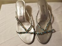 Size 6 Silver and Turquoise Kitten Sandals