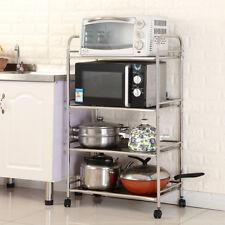 4 Tier Kitchen Trolley Cart Stainless Steel Shelves Storage Wheels Castors