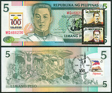 100 Years 5p NDS Philippine Centennial KALAYAAN w/ Stamp Banknote #9