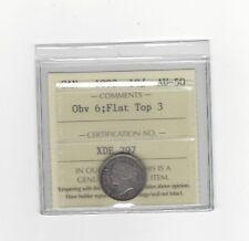 **1893 Flat Top 3, Obv.#6**, ICCS Graded Canadian,  10  Cent, **AU-50**