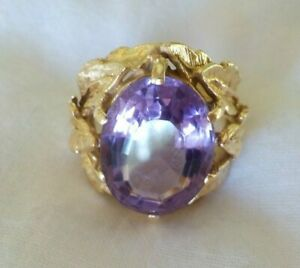 Vintage Large 14k Yellow Gold Solitaire Amethyst Ring -12.2 gms, Sz 6.75, 6+ ctw