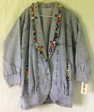 Apache By The West Plus Large Vintage 80's Bejeweled Women's Long Jean Jacket