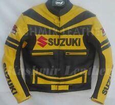 New Mens Yellow Black Motorcycle Racing Cowhide Leather Biker Jacket For Suzuki