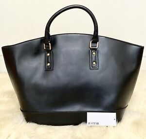 JustFab Very Large Tote Bag, Black PVC Vegan Leather with Gold Hardware RRP £55