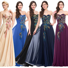 PEACOCK Gothic Long/Short FORMAL Evening Gown Bridesmaid Wedding Ball PROM Dress