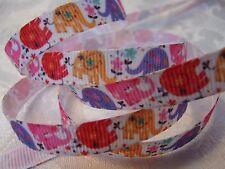 "Grosgrain Ribbon * Little Elephant Print* 3/8""W - 5 Yards - Hair Bows& Crafts!"