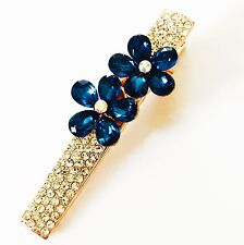 QUALITY Hair Clip Claw using Swarovski Crystal Hairpin Flower Gold Blue 2
