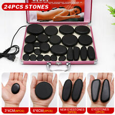 24 PCS SPA Massage Hot Basalt Rock Stones Heating Box Facial Therapy Skin Kit CA