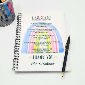 Teachers Gift A5 Personalised Notebook -  Thank You - Leaving - Class 2021