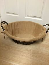 Adorable Chocolate Brown Large Oval Wicker Basket & Cloth Cover 9 H x 22 L x 17W